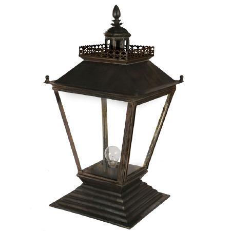 Chateau Medium Pedestal Lantern Antique Brass
