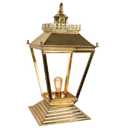 Chateau Medium Pedestal Lantern Polished Brass