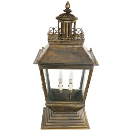 Chateau Large Pedestal Lantern, Light Antique Brass