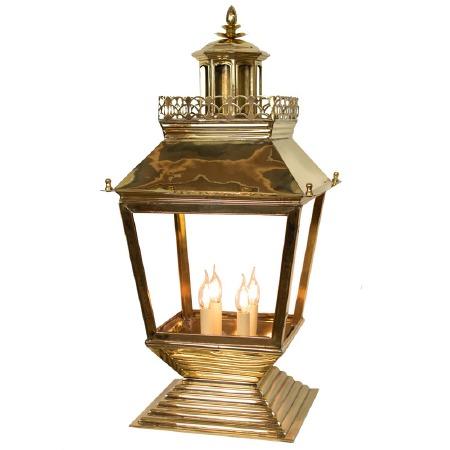 Chateau Large Pedestal Lantern Polished Brass