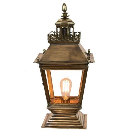 Chateau Pedestal Lantern, Light Antique Brass