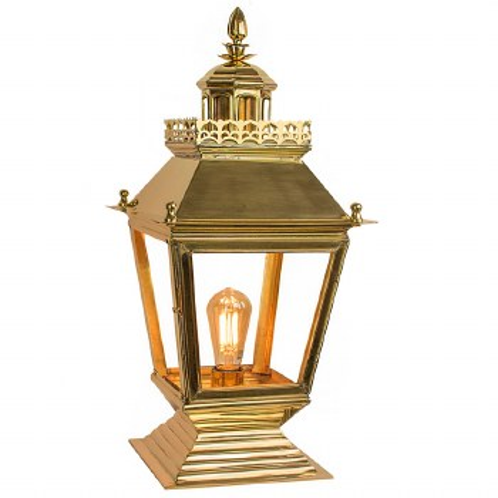 Chateau Pedestal Lantern Polished Brass