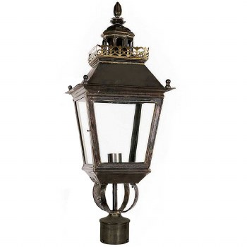 """Chateau Lamp Post Head for 2"""" dia. Antique Brass"""