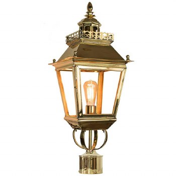 """Chateau Lamp Post Head for 2"""" dia. Polished Brass"""