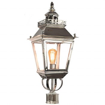 """Chateau Lamp Post Head for 2"""" dia. Polished Nickel"""