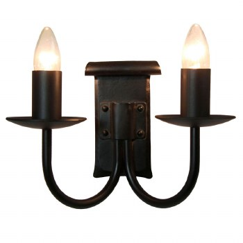Chaucer Iron Double Wall Light with Black Candle Drips