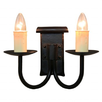 Chaucer Iron Double Wall Light with Ivory Candle Drips
