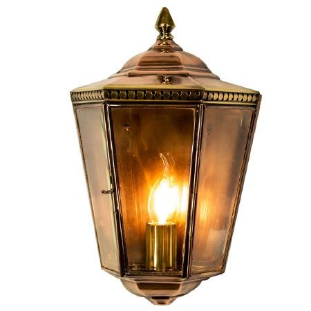Chelsea Flush Outdoor Wall Light Lantern Light Antique Brass