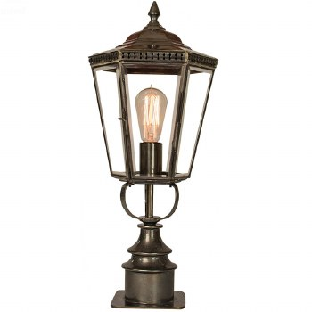 Chelsea Short Pillar Lantern Antique Brass
