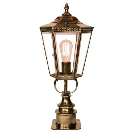 Chelsea Short Pillar Lantern Light Antique Brass