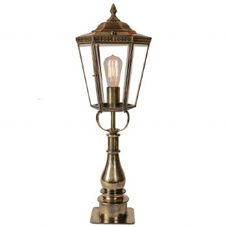 Chelsea Tall Pillar Lantern Renovated Brass