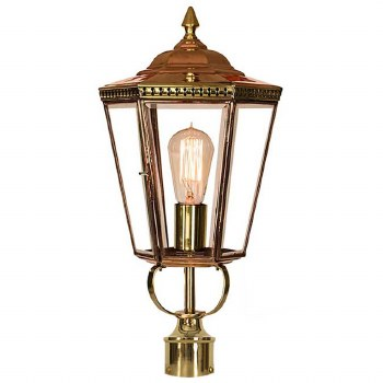 """Chelsea Lamp Post Head to suit 2"""" dia. Polished Brass"""