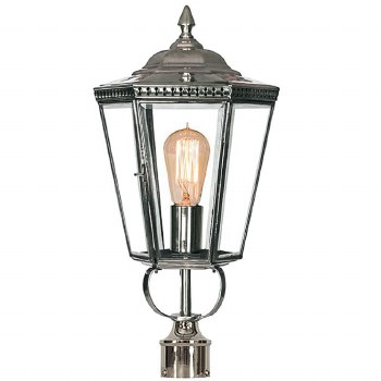 """Chelsea Lamp Post Head to suit 2"""" dia. Polished Nickel"""