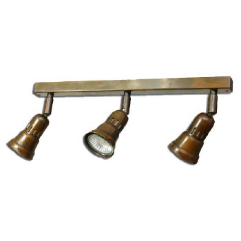 Broughtons Cherry Triple Spotlight on a Bar Antique Brass