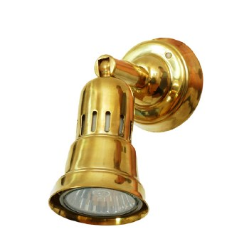 Broughtons Cherry Single Spot Light Polished Brass Unlacquered