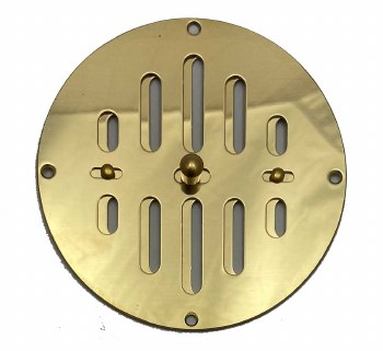 """Hit & Miss Circular Air Vent 5"""" Polished Brass Unlacquered"""