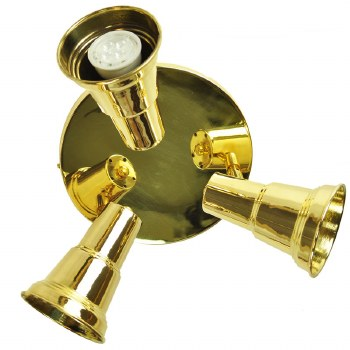 Circular Plate with 3 Spot Lights Polished Brass