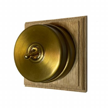 Citadel Dolly Switch on Wooden Base 1 Gang Antique Satin Brass