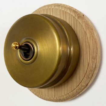 Citadel Dolly Switch on Round Oak Base Antique Satin Brass