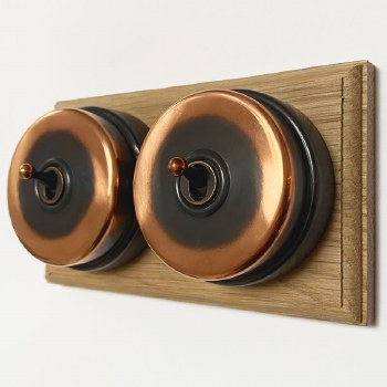 Citadel Dolly Switch on Wooden Base 2 Gang Renovated Copper