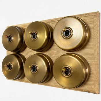 Citadel Dolly Switch on Wooden Base 6 Gang Antique Satin Brass