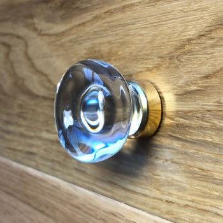 Bun Shaped Clear Cupboard Knob in Brass
