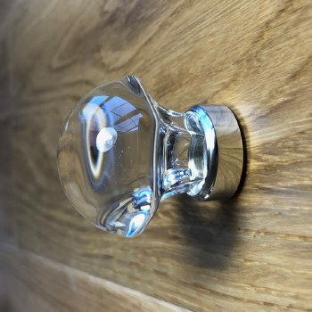 Mushroom Shaped Clear Cupboard Knob in Nickel