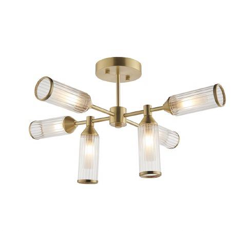 Corscombe 6 Light Ribbed Semi Flush Ceiling Light Satin Brass