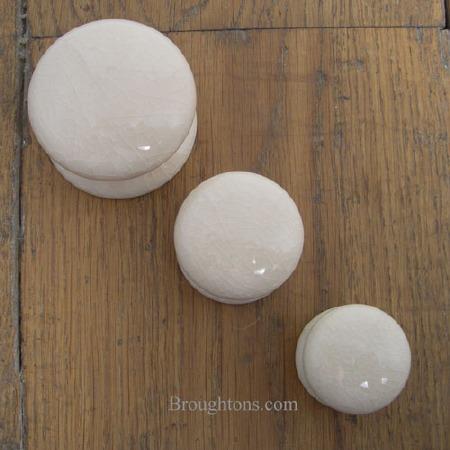Crackle Porcelain Cupboard Door Knob White 50mm