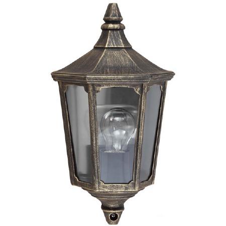 Elstead Cricklade Flush Outdoor Wall Light Lantern Black/Gold