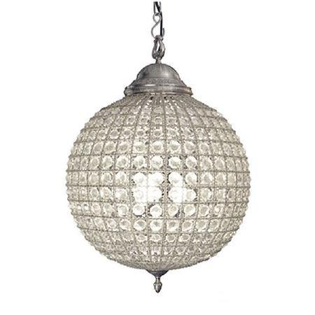 Crystal Globe Chandelier Antique Pewter - Medium