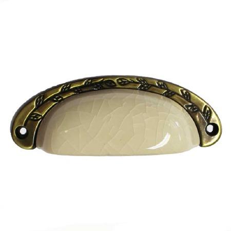 Porcelain Cup Handle Cream Crackle & Antique Brass