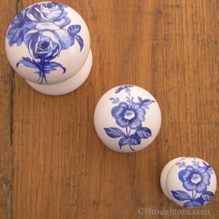 Porcelain Cupboard Door Knob Blue Swansea
