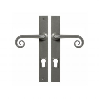 Stonebridge Curl Entry Multipoint Door Handle Armor Coat Satin Steel