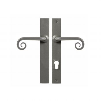 Stonebridge Curl Patio Multipoint Door Handle Armor Coat Satin Steel