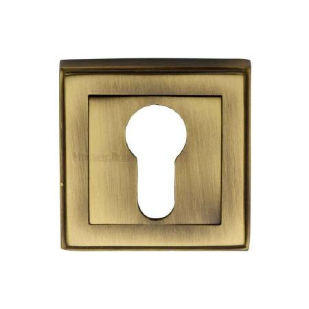 Heritage DEC7020 Square Euro Escutcheon Antique Brass Lacquered