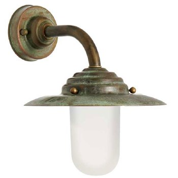 Palermo Deck Outdoor Wall Light Aged Copper Opal Glass