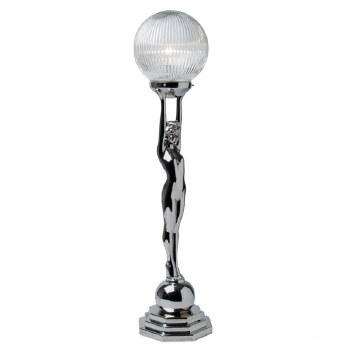 Art Deco Lady Clear Reeded Table Lamp Chrome