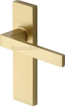 Heritage Delta Latch Door Handles DEL6010 Satin Brass Lacquered