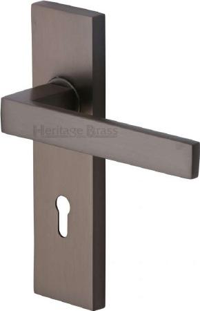 Heritage Delta Door Lock Handles DEL6000 Matt Bronze