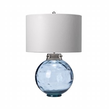 Elstead Kara Table Lamp Blue Glass with Shade