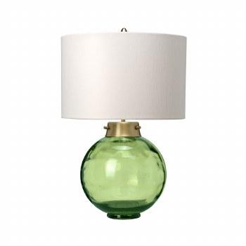 Elstead Kara Table Lamp Green Glass with Shade