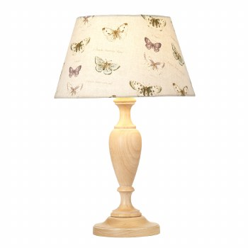 Elstead Woodstock Table Lamp Medium Limed with Shade