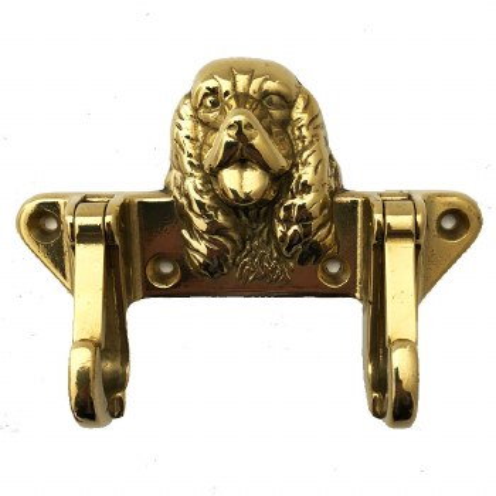 Dog Lead Double Hook Polished Brass