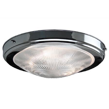 Prismatic Flush Dome Ceiling Light Chrome