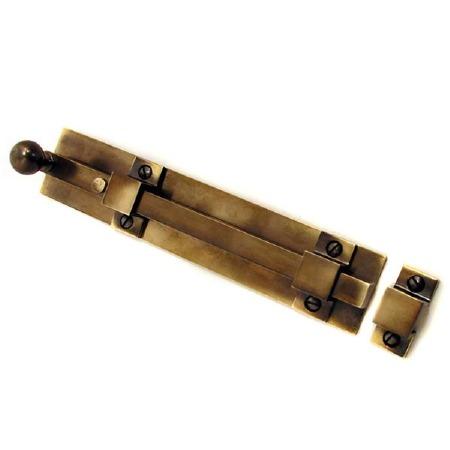 Door Bolt 203mm Antique Brass Unlacquered