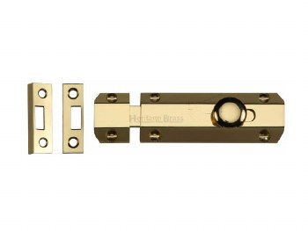 "Heritage Flat Bolt C1685 4 Polished Brass 4"""