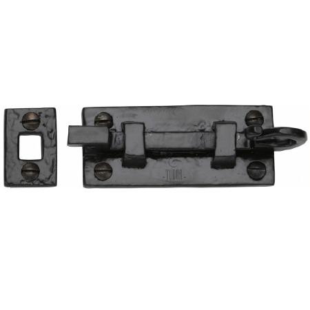 Heritage Tudor Door Bolt Necked TC159 76mm Black Ironwork