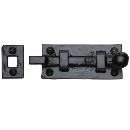 Heritage Tudor Door Bolt Necked TC169 76mm Black Ironwork
