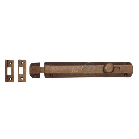 """Heritage Door Bolt 8"""" RBL1685 Solid Bronze Rustic"""